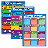3 Pack - Days of the Week + Months of the Year + Birthday Calendar Poster Set - Toddler Educational Charts (LAMINATED, 18' x 24')