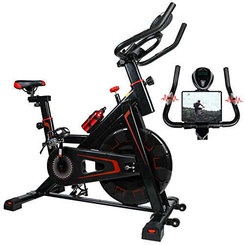TOLEAD Exercise Bike Stationary, Workout Spin Bike with Heavy Duty Flywheel for Home Cardio Gym, Indoor Cycling Bike Belt Drive with Heart Rate Monitor for Indoor Riding, 2021 New