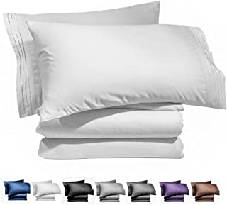 AiAngu Bed Sheet Set - Brushed Microfiber 1800 Bedding - 16-Inch Deep Pocket Wrinkle, Fade, Stain Resistant - Hypoallergenic - 4 Piece (White, King)