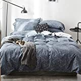 HIGHBUY Geometric Bedding Sets King Navy Blue for Boys Men 3 Piece 100 Percent Cotton King Duvet Cover Sets with Zipper Closure Modern Plaid Grid Pattern Comforter Cover Sets for Kids Teens Reversible