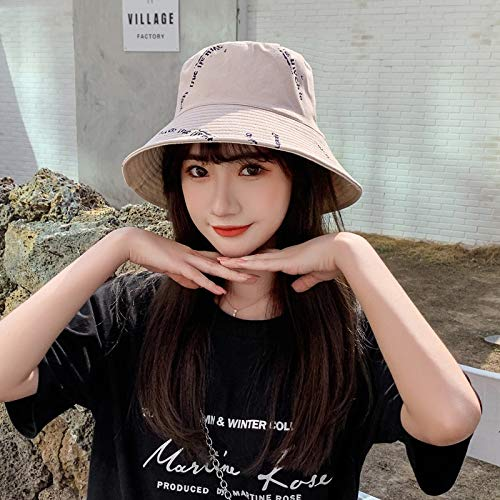 SUNXK Sombrero del Ocio, Sombrero de Moda Carta-Hat Caras Pescador Harajuku Corea del Verano Femenino Salvaje ollas del Sol del Sombrero (Color : Khaki, Size : One Size)