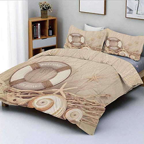 Jojun Duvet Cover Set,Welcome On Board Life Buoy Wooden Sepia Fishnet Holiday Maritime Theme PrintDecorative 3 Piece Bedding Set with 2 Pillow Sham,Tan Beige White,Best Gift For Kids Easy Care Ant