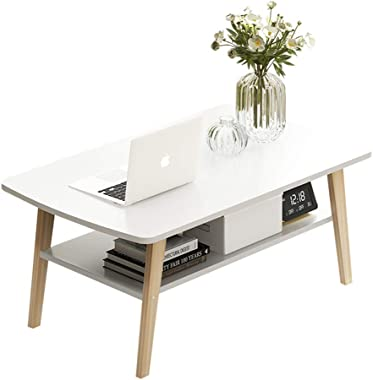 Simple Stylish Multi-Use Solid Wood Coffee Table with 4 Legs Support and Storage Bottom Shelf - Rounded Corner Design, Perfec