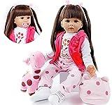 ZIYIUI 24'/60cm Realistische Reborn Babypuppen Kleinkind Weiche Silikon Vinyl Reborn Baby Mädchen Dolls with Lange Haare Kind Geschenke Realistisch Handgemacht Spielzeug