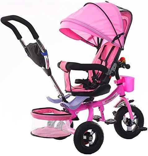 KDMB Triciclo 4 in 1, Triciclo Bicicletta per Bambini Leggero Passeggino per Bambini Sedile Comfort Pieghevole Triciclo per uscire Recinzione di sicurezza 5 Colori (Colore: Colore)