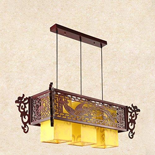 Lustre Salle à manger Chandeliers Restaurant Trois Carré Carré En Bois Massif Imitation Lampes En Cuir Style Chinois LED (Size : 90 * 40 * 32cm)