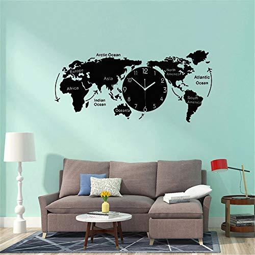 WERWN Mapa del Mundo Creativo único Reloj de Pared Oficina hogar Sala de Estar Pegatinas de Pared Artista decoración del hogar
