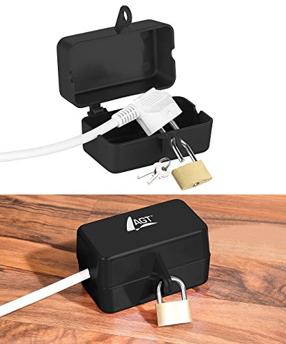 AGT Steckersafe: Abschließbare Stromstecker-Schutzbox mit Vorhängeschloss, 2 Schlüssel (Kabelbox)
