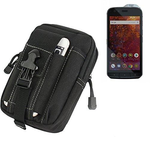 K-S-Trade Gürtel Tasche Für Caterpillar Cat S61 Gürteltasche Holster Schutzhülle Handy Hülle Smartphone Outdoor Handyhülle Schwarz Zusatzfächer
