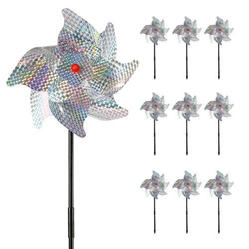 Jetcloud 10Pcs Bird repellent PinWheels, High Effective Reflective Pinwheel...