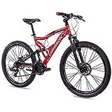 CHRISSON 26 Zoll Mountainbike Fully - Emoter rot - Vollfederung Mountain Bike mit 21 Gang Shimano Tourney Kettenschaltung - MTB