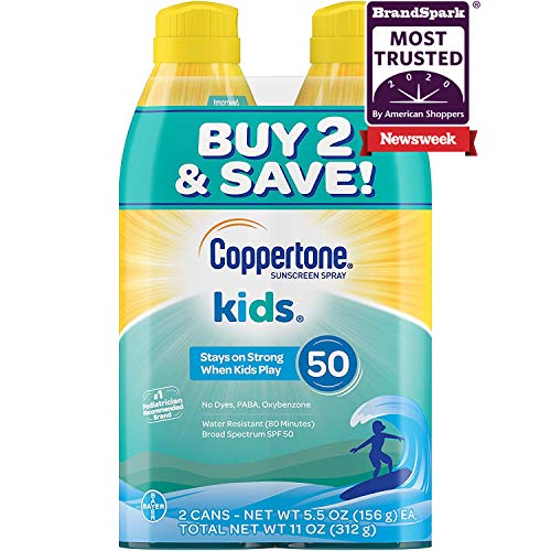 Coppertone Kids Sunscreen Water Resistant Continuous Spray Broad Spectrum SPF 50, Twin Pack (5.5 Ounces Per Bottle)