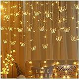 16,4 pies mariposa luces de colores cadena de hielo, 216 leds 36 Gotas luces de red Decoración de Navidad, a prueba de agua al aire libre luces de fondo (Color : Warm white)