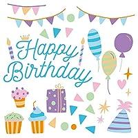 誕生日☆シール式ウォールステッカー 誕生日 birthday 飾り 30×30cm ケーキ ガーランド バースデーパーティ飾り 風船 バルーン 壁紙 お祝い カラフル ケーキ パーティ 017004