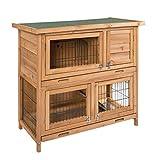 ELIGHTRY Conejeras Madera de Exterior Gallineros Jaula para Conejos Gallinas Cobayas Hamster Animales Pequeños con 2 Pisos 91,5x45x81cm XTL0001hbgn