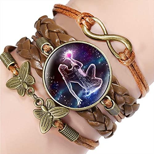 WXJ 12 Signo del Zodiaco Pulsera De Cuero Tejido, Aquarius Piscis Aries Taurus Constelación Joyería Multilapa Multilapa Cúpula De Vidrio Pulsera (Metal Color : 11)