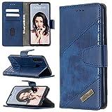 Miagon Huawei P30 Lite Étui pour Téléphone,Antichoc Cover Crocodile Épissage PU Cuir Coque Housse avecMagnétique Porte-Cartes de Crédit Stand Support,Bleu