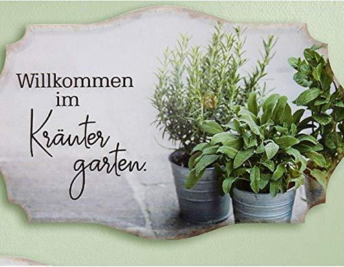 Rostalgie Metall Schild Kräutergarten 30x19cm Wandschild Gartendekoration Tafel - 1 STÜCK (Metall, Willkommen im Kräutergarten)