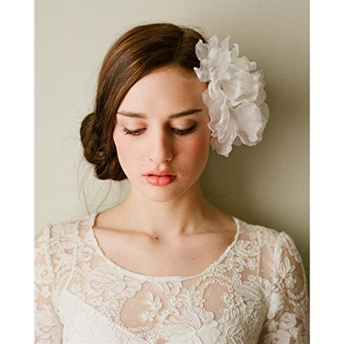 Utsunomiya® 1stück élégant Accessoire Cheveux Cheveux matures, Super belle doux Fleurs en Tulle, en voile dentelle Lace Fleurs avec perles en cristal transparent de mariage mariage cérémonie cheveux bijoux