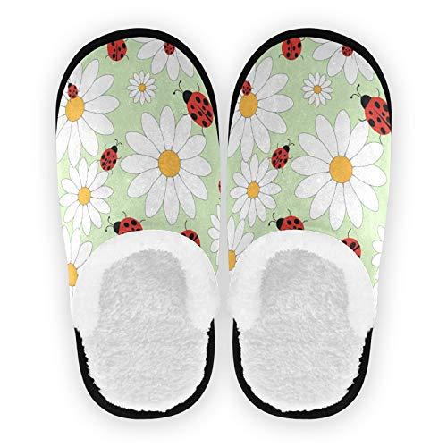 Mnsruu - Pantofole da donna, in cotone, con coccinella e margherite, taglia M, (Multicolore), 37/40 EU