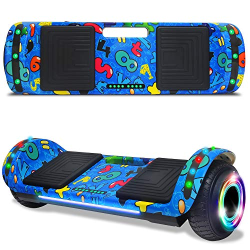 cho 6.5' inch Hoverboard Electric Smart Self Balancing Scooter with Built-in Wireless Speaker LED Wheels and Side Lights Safety Certified (Image Blue)