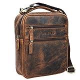 STILORD 'Mats' Herren Handtasche Leder Vintage kleine Messenger Bag mit Tragegriff Tablettasche für 9.7 Zoll iPad DIN A5 Dokumente Umhängetasche aus echtem Leder, Farbe:Sepia - braun
