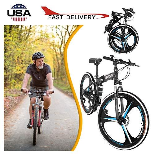 26 Inch Folding Mountain Bike, Full Suspension MTB Bikes with Disc Brakes High Carbon Steel 3 Spoke 21 Speed Mountain Bicycle Bikes for Men/Women - 𝐔𝐒 𝐒𝐭𝐨𝐜𝐤 (Black)