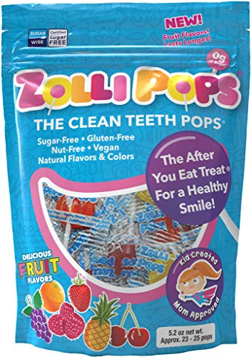 Zollipops The Clean Teeth Pops, Anti Cavity 25 Count Lollipops, Delicious Assorted Flavors, 5.2 Ounce , 25 Count