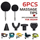 Serveyou 6PCS/Set Percussion Massage Tip Bit Adapter Massage Adapter Attachment with 2 Extended Rod for Jigsaw Massager Adapter Attachment for Neck Shoulder(6pcs, Shown)