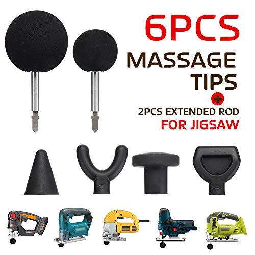 Serveyou 6PCS/Set Percussion Massage Tip Bit Adapter Massage Adapter Attachment with 2 Extended Rod for Jigsaw Massager Adapter Attachment for Neck Shoulder(6pcs, Shown)