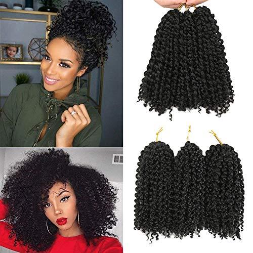 marlybob crochet capelli molto ricci 6 fasci/kinky lune acconciando i capelli uncinetto ai capelli sintetici estensione (1B)
