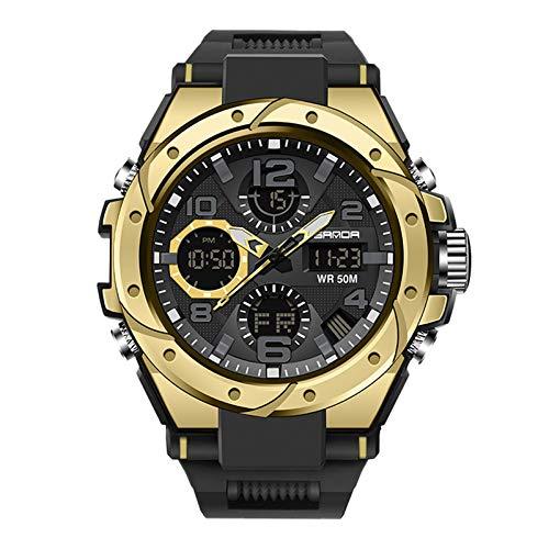 Herren Digitale Armbanduhr Military Sport Analog-Digital Chronograph Uhren für Männer Big 56 mm Wasserdicht LED Harz Armbanduhr (E)