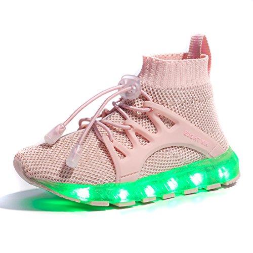 EIGHT KM EKM7016 Niños y Niñas Light Up Zapatos con Carga USB LED 7 Colores de Luces Zapatillas Rosa 29