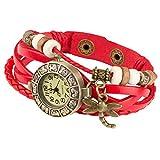 Taffstyle Damen-Armbanduhr Analog Quarz mit Leder-Armband Geflochten Charms Anhänger Uhr Retro Vintage Libelle Gold Rot