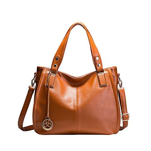 Tisdaini® Damenhandtaschen Mode große Schultertaschen weich Leder Shopper Umhängetaschen Braun