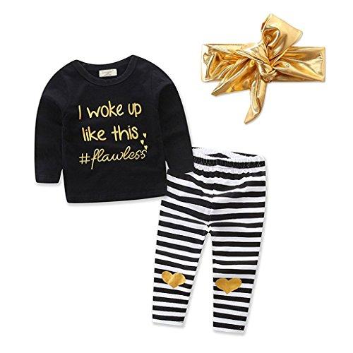 Juleya Network technology Ltd Mädchen Babykleidung - Juleya Baumwolle Baby Mädchen Langarmshirt + Hose + Haarschmuck 3pcs Outfits Set