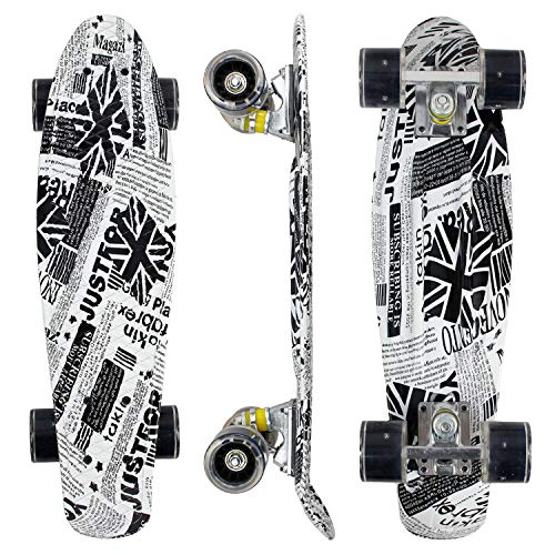 Geelife 22' Complete Mini Cruiser Skateboard for Beginners Youths Teens Girls Boys with LED Wheels (Memory)