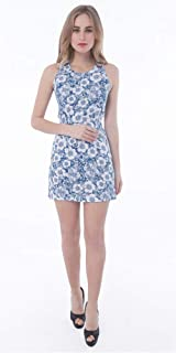 Palm Lagoon Nikita in Shane Graphique Blue White Slim Fit Sleeveless Floral Bodycon Mini Dress