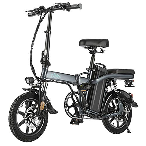 FIIDO L2 Folding EBike, 350W Aluminum Electric Bicycle with Pedal for Adults and Teens, 14' Electric Bike 15Mph with 48V/20AH Lithium-Ion Battery, Gray