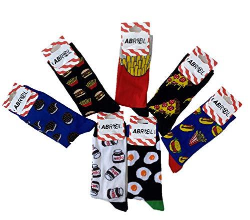 Abrael 7 paar sokken met motief Nutella, Oreo, Pizza, Pommes, Burgers, Hot Dog, Omelette