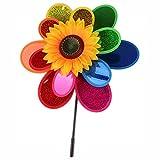 munloo Molino Viento de Dos Capas de Colores, Decoración de Pinwheel Desde Balcón o Terraza, Molino Viento Jardin de Césped para Fiestas