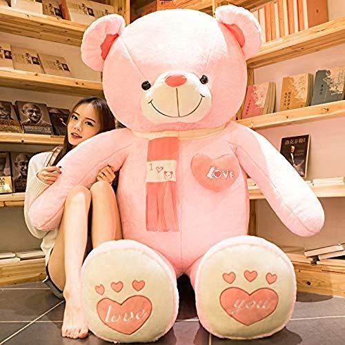 LFSLAS Panda muñecos de Peluche para Enviar niñas Abrazo Almohada de Oso Linda Cama muñeca niños Regalo de cumpleaños en Polvo.Oso Feliz 1 2 Metros