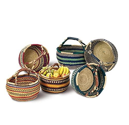 BigDean Einkaufskorb 40cm rund aus 100% natürlichem Seegras - Farben Sortiert - Tasche geflochten Bolga Korb bunt Einkaufstasche Strohtasche Picknickkorb