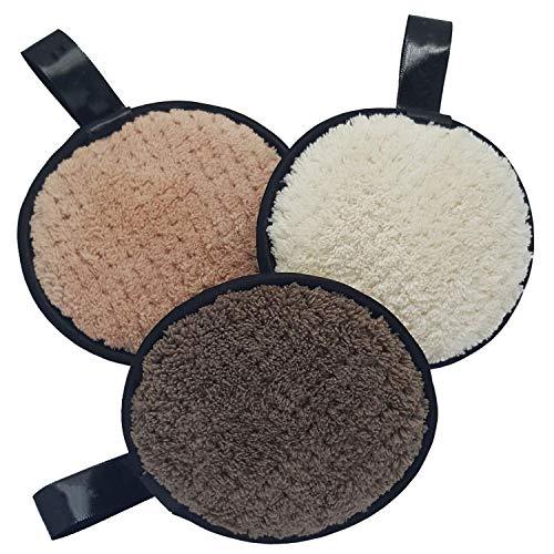 Herbruikbare oogmake-up remover pads katoenen ringen organische bamboe gezicht doekjes, pak van 3