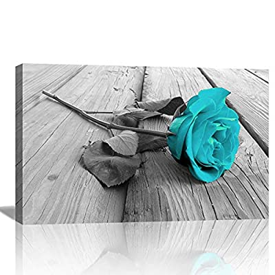 AMEMNY Large Panel Canvas Wall Art Teal Rose Floral Canvas Wall Art Pictures on Grey Split Wooden Floor Modern Flower Prints Paintings Turquoise Artwork Home Decor from AMEMNY