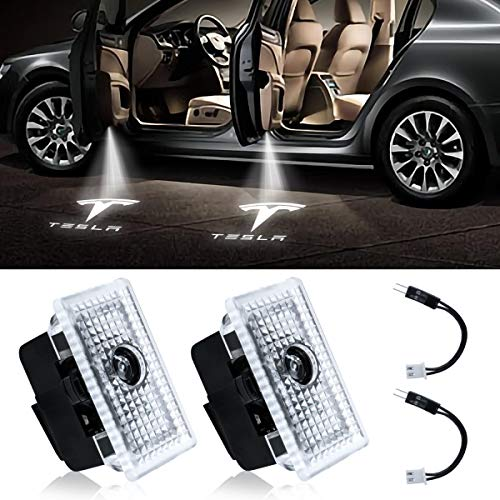 LED Car Door Light Projector Courtesy LED Laser Welcome Lights Logo Compatible with Accessories Ghost Shadow Light for Model 3 Model S Model X Model Y Accessories (2 Pack)