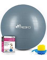 TRESKO® gymnastiekbal met GRATIS poster met oefeningen incl. luchtpomp | BPA-vrij | 55 cm 65 cm 75 cm 85 cm | zitbal | anti-burst yogabal | 300 kg | fitness yoga core