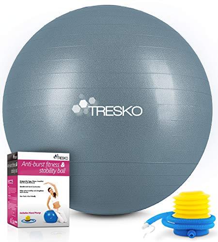 TRESKO® Pelota de Gimnasia Anti-Reventones | Bola de Yoga Pilates y Ejercicio | Balón para Sentarse | Balon de Ejercicio para Fitness | 300 kg | con Bomba de Aire (Cool Grey Blue, 85cm)
