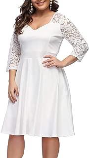 ORICSSON Women's Plus Size Retro Floral Lace Halter Ruched Off- Shoulder Wedding Hi-Low Cocktail Party Evening Dress