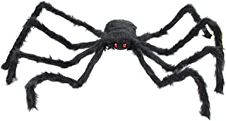 ibohr Halloween Huge Scary Spider Props Red Eyes Horror Spider for Indoor&Outdoor Halloween Party Decoration, 3 Feet (Black)